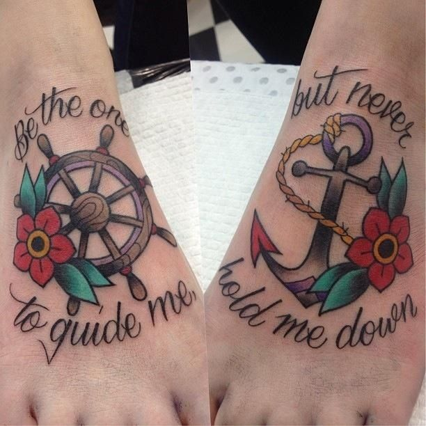 "#tattoo #oldschool #anchor ""Be the one to guide me but never hold me down"""