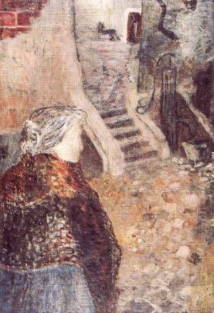Ámos Imre: Öregasszony régi városban (1936-37, vászon, olaj, 35 x 27 cm