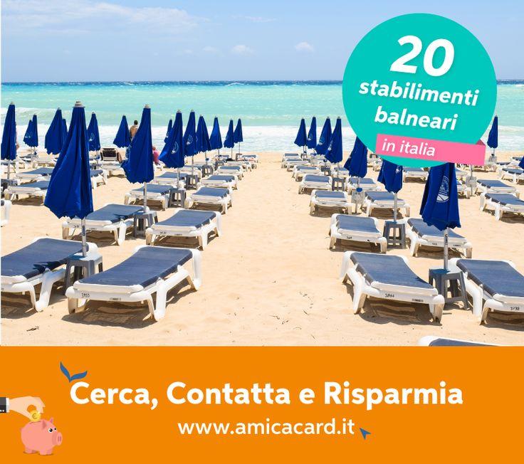 SE ALL'OMBRELLONE NON VUOI RINUNCIARE DA AMICA CARD FATTI COCCOLARE! Siediti su una comoda sdraio, goditi il sole e lasciati coccolare in uno dei 20 stabilimenti balneari in tutta Italia, cerca sul sito amicacard.it il resort che si adatta alle tue esigenze e risparmia fino al 20% sulla tua prossima vacanza all'insegna del relax.  #StabilimentiBalneari #BeachResort #Vacanze2017 #Relax #Ferie #sconti #Confort #amicacard #convenzioni #amicacardStabilimentiBalneari