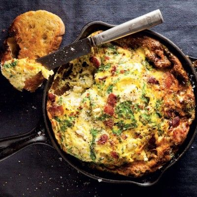 Taste Mag | Swiss chard and feta frittata with crispy bacon @ https://taste.co.za/recipes/swiss-chard-and-feta-frittata-with-crispy-bacon/