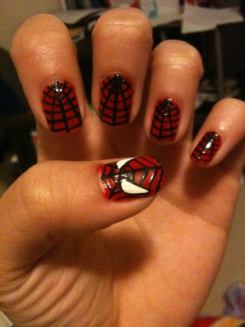 26 best spider man nails images on pinterest enamel enamels and spiderman web just in time for halloweenjust change up the base prinsesfo Choice Image