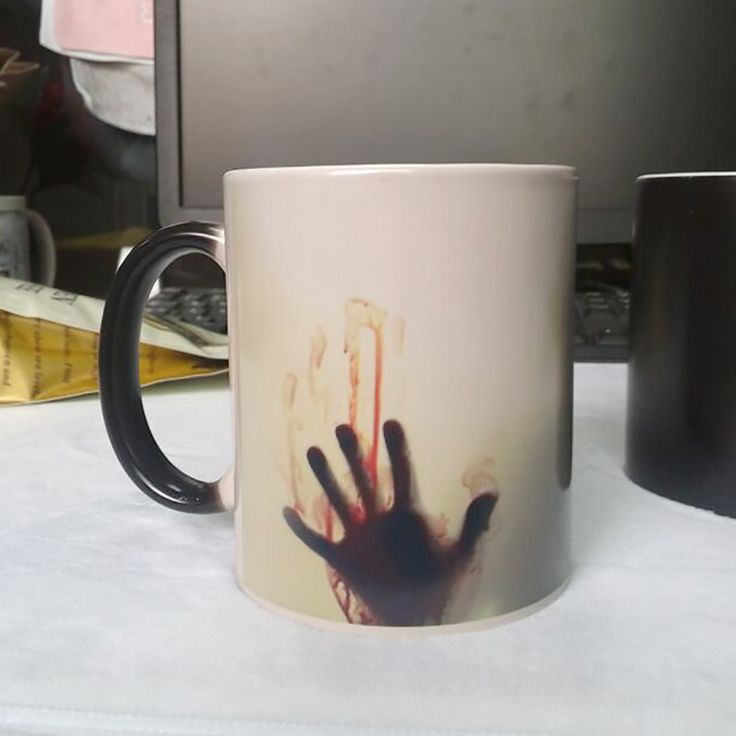 Hot sell Zombie Color Changing Mug real betis cup Heat sensitive Magic Coffee mugs Printing with Bloody hands LOGO Ceramic Cups