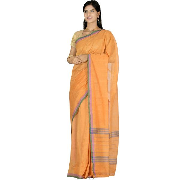 Orange Venkatagiri Cotton Saree with Plain  Design v0035