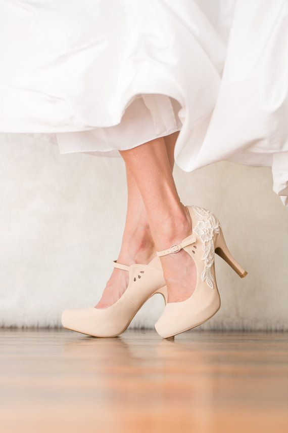 Classic...Nude Wedding Shoes - Bridal Shoes, Nude Mary Jane Heels, Wedding Heels with Ivory Lace. US Size 6