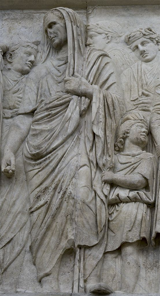 Marcus Vipsanius Agrippa and Gaius Julius Caesar Vipsanianus.South procession (close-up).Rome, Altar of August Peace (Ara Pacis Augustae).
