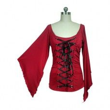 Red Stretchy Lace-Up Gothic Corset Jersey Top. www.nixdungeon.co.nz