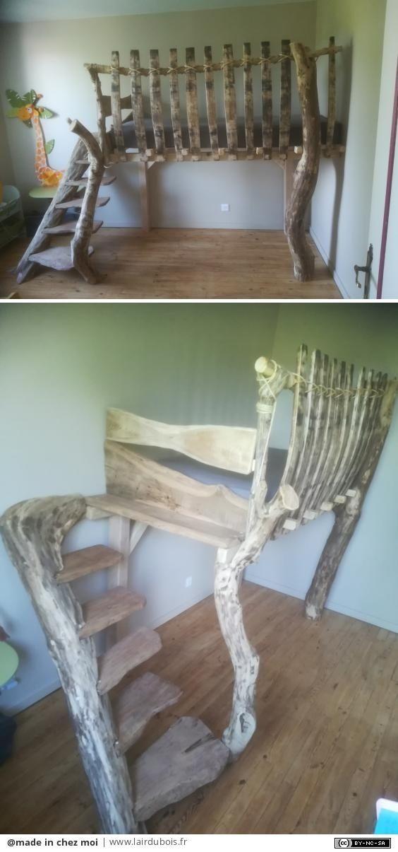 Lit d'enfant en bois de récupération par made chez moi