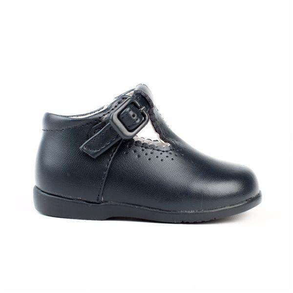 Zapatos primeros pasos bebé Pepito piel azul marino.