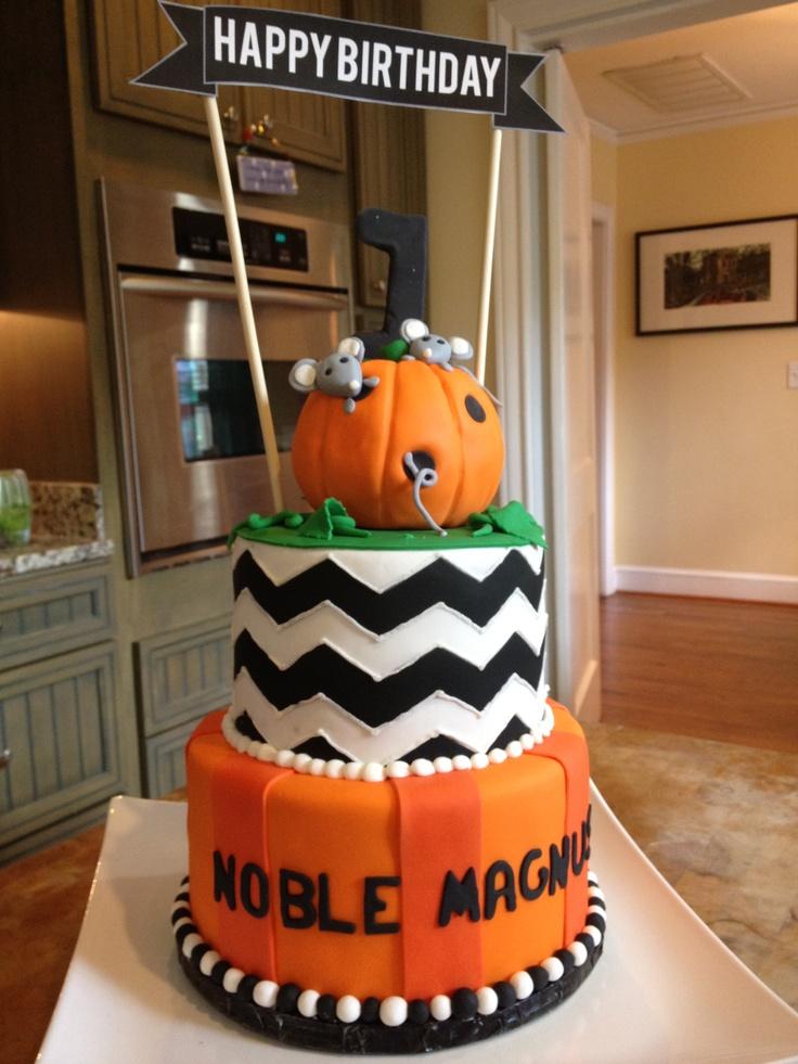Chevron Pumpkin First 1st Birthday Cake Mice