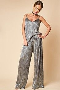 Pantaloni din lame cu fir argintiu