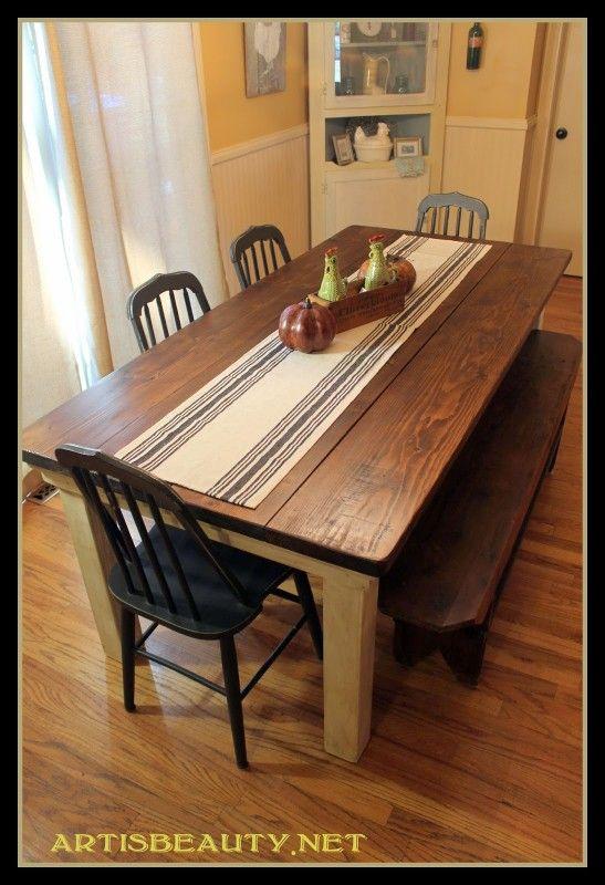 build a farmhouse table for under 100 - Primitive Kitchen Tables