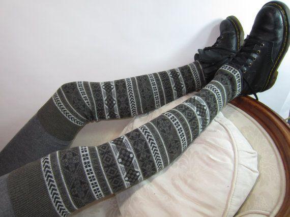 Bohemian Thigh High Leg Warmers Fair Isle Knit Boot Sock Black Brown A944