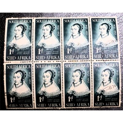 South Africa, Maria van Riebeeck, Maria de la Quellerie, spouse of Jan van Riebeeck, Dutch colonial first commander of the settlement at the Cape 1952, sheet of 8 stamps, VF