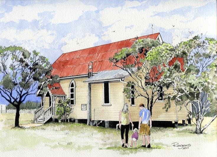 St Matthew's Church of England at Howard, Queensland.  Pen and Wash.  My first artwork of Howard, where I now live.