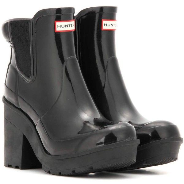 Hunter Original Block Heel Chelsea Rubber Boots ($175) ❤ liked on Polyvore featuring shoes, boots, black, wellies boots, wellies shoes, hunter boots, hunter footwear and black wellington boots