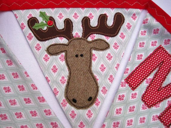 Christmas bunting banner - applique moose made with beautiful Tilda fabric Over 10 feet long (excluding ties) with 19 flags READY TO SHIP