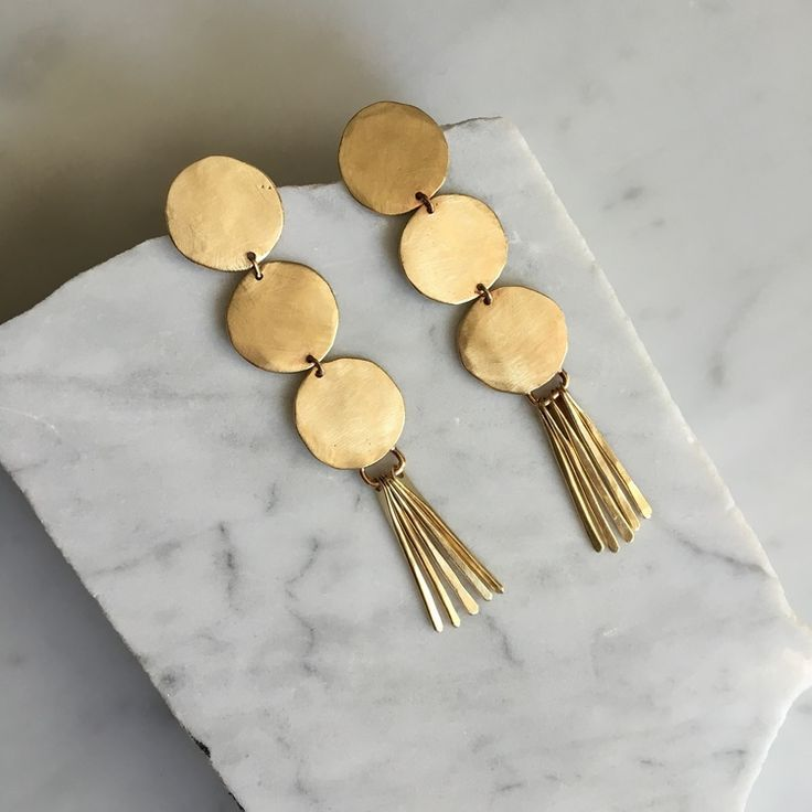 Layered Gold Circle earrings with fringe skirt