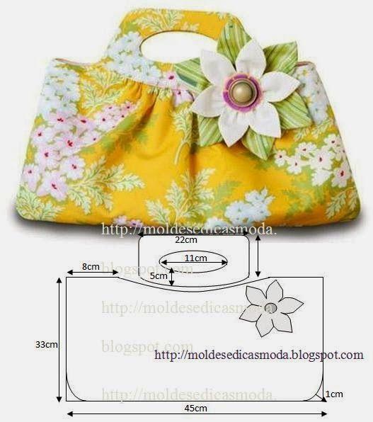 PASSO A PASSO MOLDE DE SACO Saco em tecido com medidas para fazer o molde. Fácil de cortar e costurar. As cores devem ser ao nosso gosto. Com as medidas da