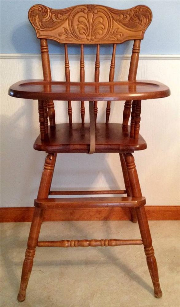 Vintage Carved Wooden Baby High Chair Solid Wood Toddler Highchair Top Craftsman