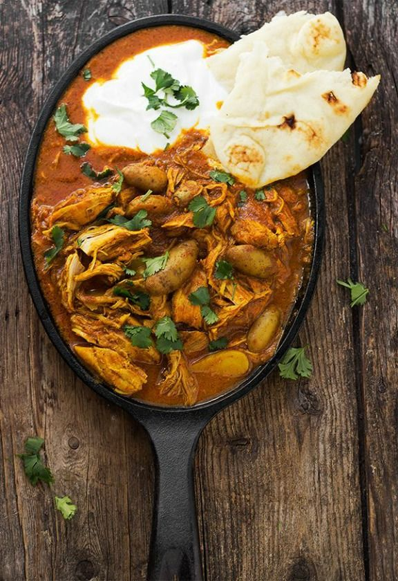 Indian Spiced Stew with Chicken and Potatoes in a Tomato Cream Sauce | seasonsandsuppers.ca