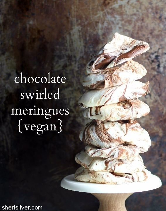 """chocolate swirled vegan meringues made with chickpea water, a.k.a., """"aquafaba""""!"""
