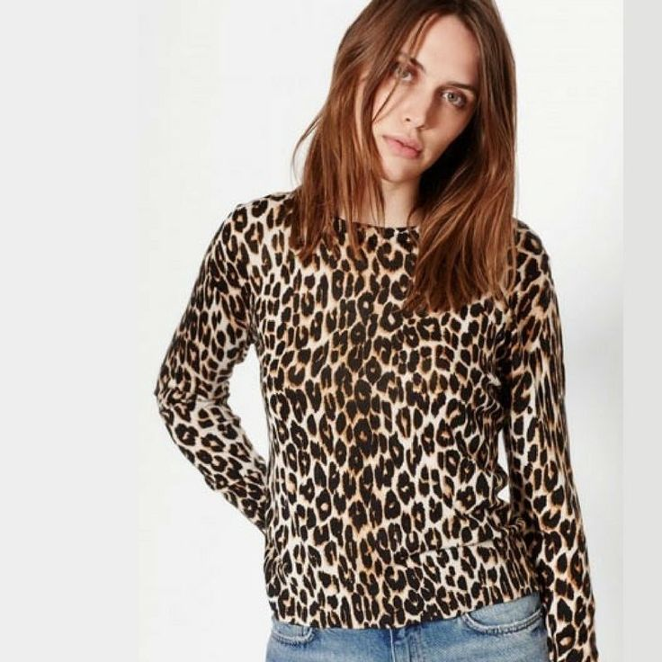 NWT Equipment Shirley Leopard-Print Long-Sleeved Silk/Cashmere Sweater / Top -XS  | eBay #equipment #leopard #luxefashionfinds
