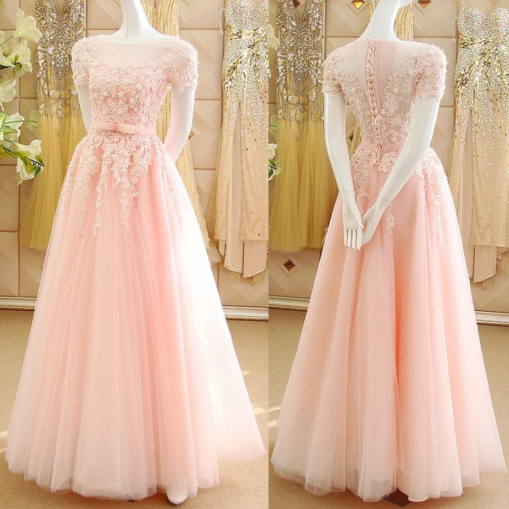 Pink Princess Prom Dresses with Lace Appliques, Illusion Prom Dress with Short Sleeves, See-through Tulle Prom Dresses, #020102120 · VanessaWu · Online Store Powered by Storenvy