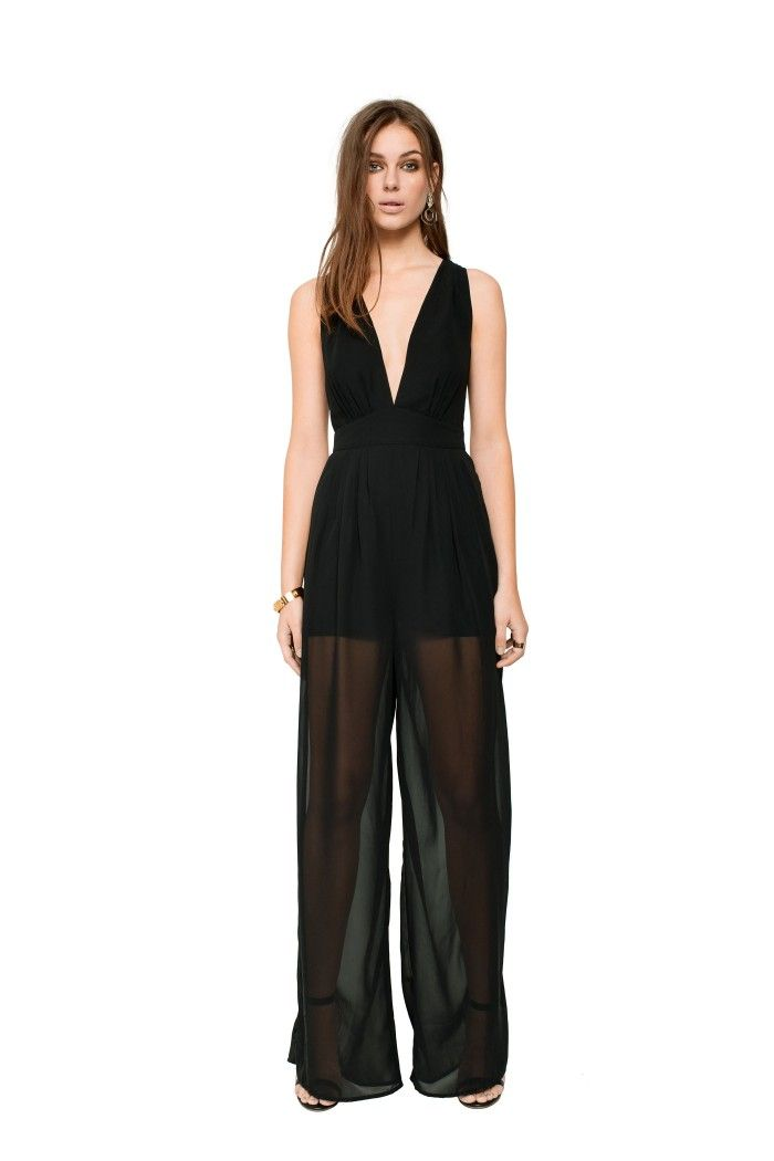 Killer playsuit with open back, deep v neck and waistband. Hidden zipper in the side.