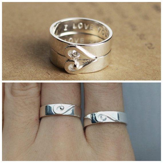 Juego anillo de promesa Set par anillos promesa por JewelryRB