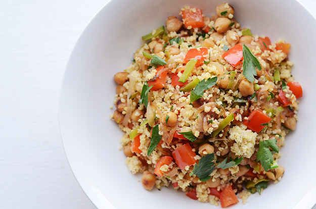 Millet Bowl With Chickpeas, Red Pepper, and Snow Peas