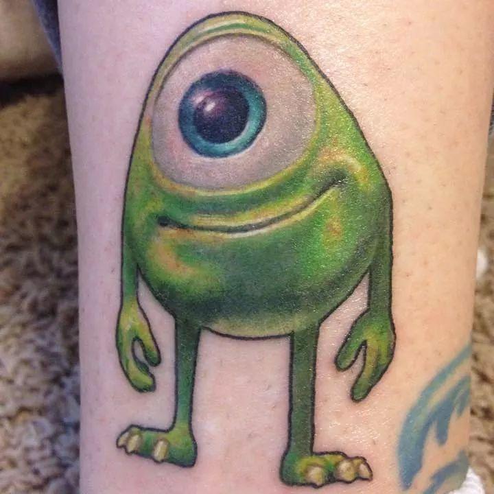 Baby Mike Wazowski tattoo from Monster's University | Tattoo