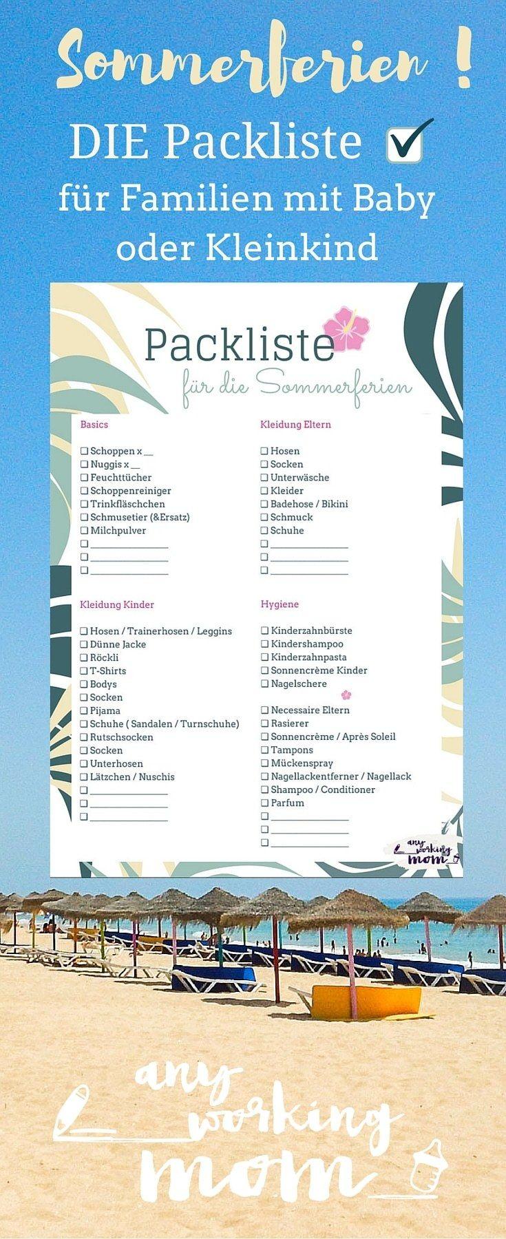 Die komplette Packliste für Ferien mit Baby und Kleinkind inklusive Reiseapotheke und - Equipment von www.anyworkingmom.com