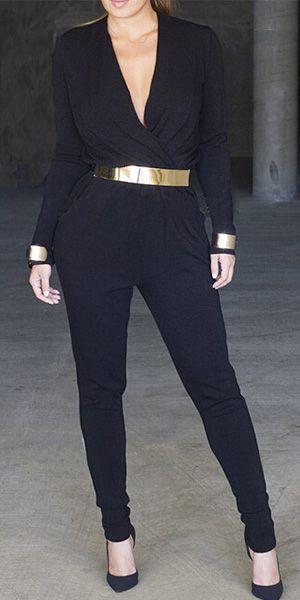 Fashion Solid Color Deep V-neck Long Sleeve Jumpsuits