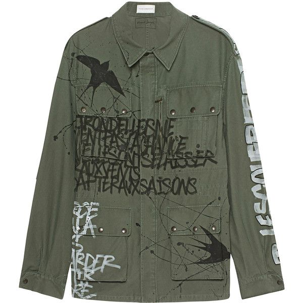 FAITH CONNEXION Graffiti Army Khaki // Parka with graffiti print (135825 RSD) ❤ liked on Polyvore featuring men's fashion, men's clothing, men's outerwear, men's coats, mens khaki coat, mens parka coats e mens army coat