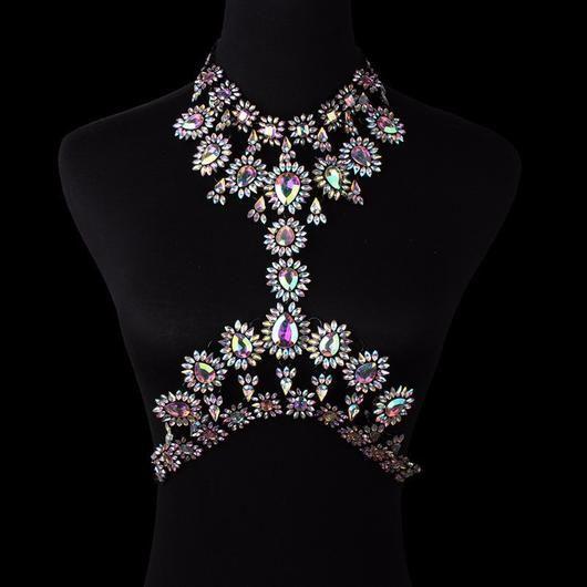 Ladies Fashion Diamond Atmosphere Geometry Hollow Sexy Body Chain , black