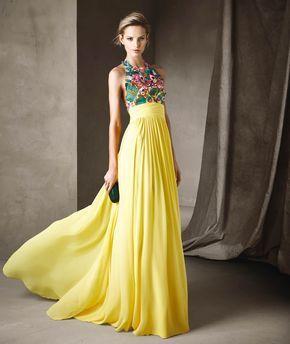 Abito da cerimonia giallo per invitata di matrimonio modello CISCA ... 5d843ca020b