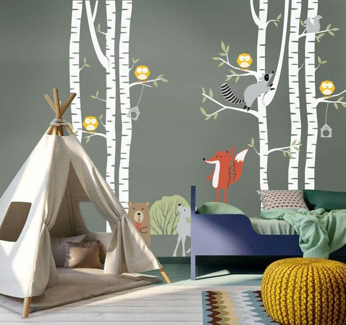 Forest animals with birch trees. Wall decree