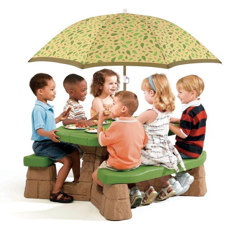 Kids Picnic Table Umbrella Plastic Outdoor Garden 6 Small Children Seat  Bench