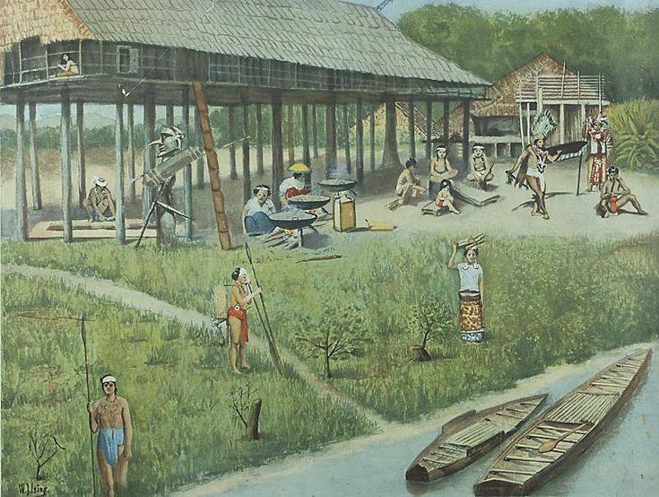 Schoolplaten: Indië - groot huis van de Dajaks, Borneo