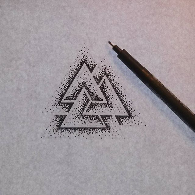New tattoo project #valknut #valknuttattoo #dotworktattoo #dotwork. #viking #vikingtattoo #handpokedtattoo #iblackwork #instablackwork