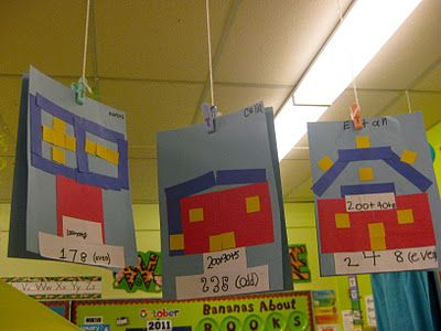 Place value houses - use dice or any random number and have students make this house as a bin activity