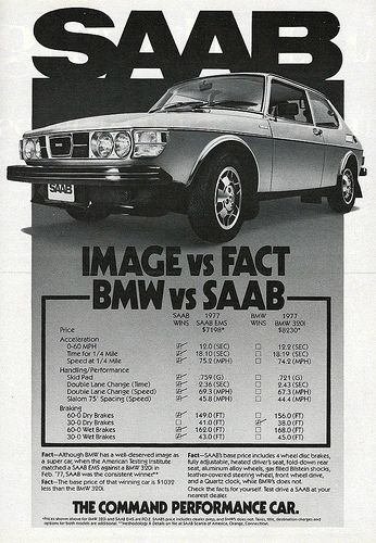 "Vintage Automobile Advertising: 1977 Saab, ""The Command Performance Car"", From Road and Track Magazine, June 1977."