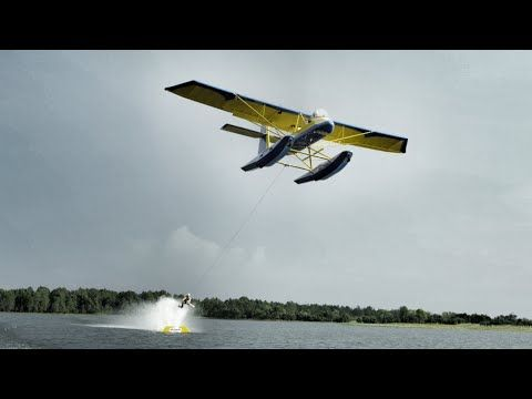 Barefoot Water Skiing behind Airplane - Insane! I Spy some Root Balance Bands!!!  Epic video by Devin SuperTramp
