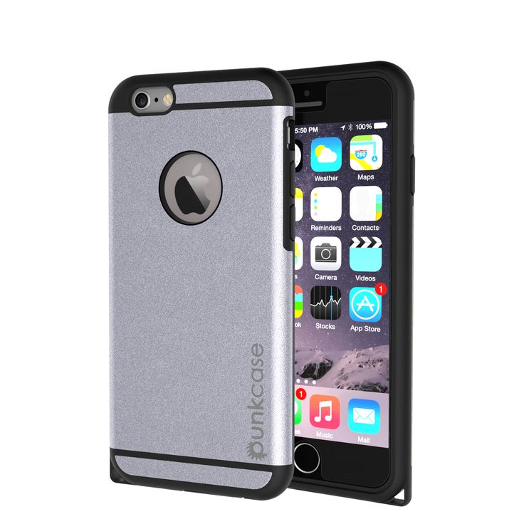 iPhone 6s Plus/6 Plus  Case PunkCase Galactic Silver Series Slim Protective Armor Soft Cover Case w/ Tempered Glass Protector Lifetime Warranty