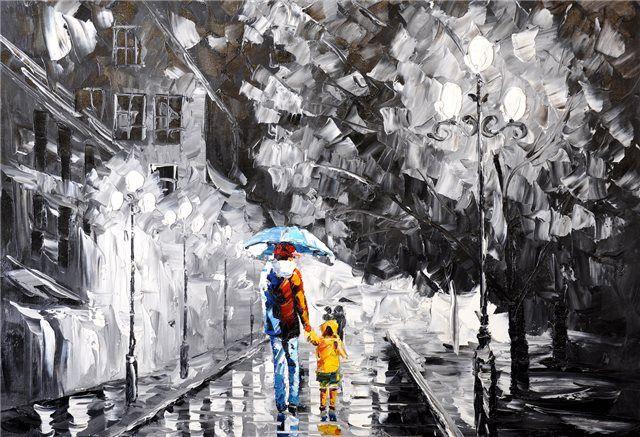 Schilderij Rainy day 3 - Mensen en personen schilderijen