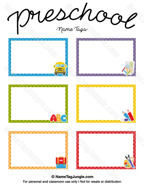 Free printable preschool name tags. The template can also be used for creating items like labels and place cards. Download the PDF at http://nametagjungle.com/name-tag/preschool/