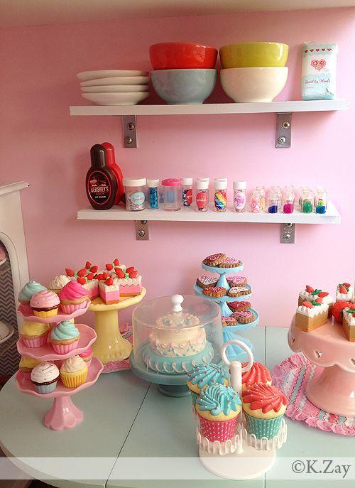 American Girl Doll Bakery  by Kim Zay  www.AGDesignCraftCreate.blogspot.com  Sweet shop   Bakery   Ice cream   Parlor Sweet Treats   Baking Table