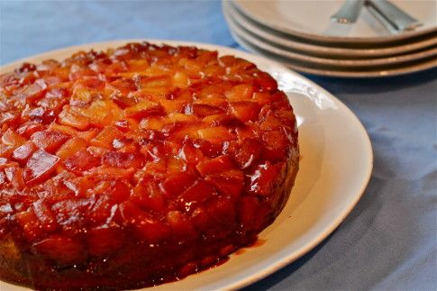 """Nectarine Upside-Down Cake Made with unripe peaches at the cabin. Pie plate was too small, use 8"""" square next time. Nutmeg was great with peaches (although unripe, had good flavor). Made buttermilk with 1T lemon juice and milk to make 1/2 cup."""