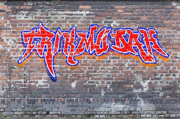 cara membuat graffiti dengan photoshop. Situs web dafont.com memiliki banyak font graffiti yang dapat kita unduh secara gratis. Font ini bisa kita gunakan untuk membuat efek tulisan graffiti pada tembok menggunakan Photoshop. Setelah mengunduh font yang kita inginkan, ekstrak file tersebut kemudian install pada komputer agar bisa kita gunakan dalam Photoshop. Untuk file tekstur tembok bisa anda download di situs cgtextures.