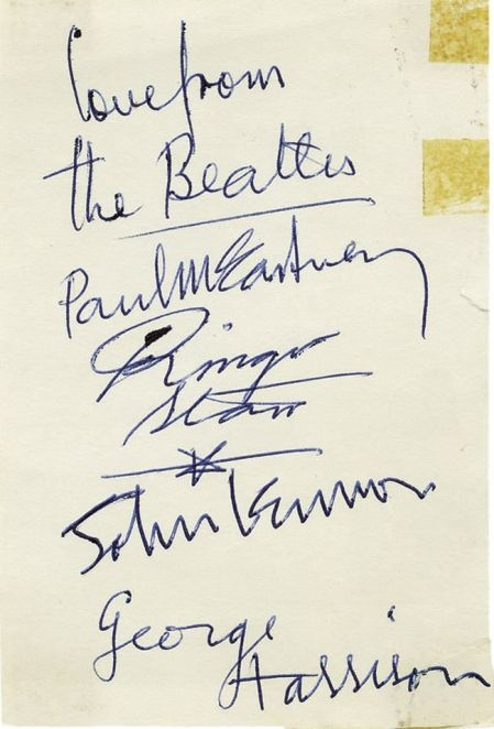 Autographs of The Beatles #memorabilia Learn more about The Beatles in Tony Barrow's 'Meet The Beatles' http://www.amazon.co.uk/gp/product/0285642898
